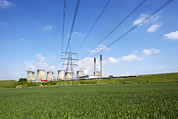 Chimneys Framed Prints - Ferrybridge Power Station And Rape Field Framed Print by Mark Sykes