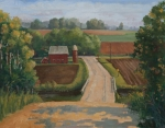 Gravel Painting Prints - Fertile Farm Print by Sandra Quintus