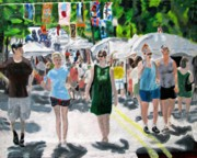 Events Painting Originals - Festival goers by Diane Paulhamus