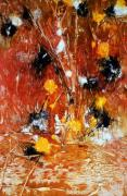 Fireworks Paintings - FESTIVAL OF FIREWORKS an acrylic painting  in orange and black by Phil Albone