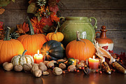 Acorn Prints - Festive autumn variety of gourds and pumpkins  Print by Sandra Cunningham