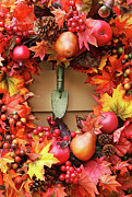 Rustic Colors Prints - Festive autumn wreath Print by Sandra Cunningham