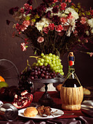Grapes Art Prints - Festive Dinner Still Life Print by Oleksiy Maksymenko