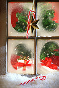 Decoration Art - Festive holiday window by Sandra Cunningham
