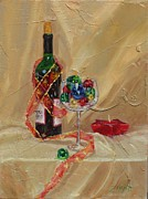 Wine Bottle Paintings - Festive by Laura Lee Zanghetti