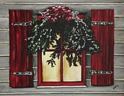 Kim Selig Prints - Festive Window Print by Kim Selig