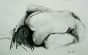 Female Figure Drawings Drawings Posters - Fetal Position Poster by Sarah Biondo