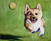Corgi Dog Portrait Posters - Fetch Poster by Mary Sparrow Smith