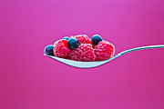 Raspberry Photo Originals - Few blueberries and raspberries  by Einar Muoni