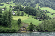 Few Houses On The Slope Of Mountain Next To Lake Lucerne Print by Ashish Agarwal