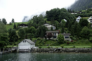 Greenery Posters - Few houses on the slope of mountain next to Lake Lucerne in Switzerland Poster by Ashish Agarwal