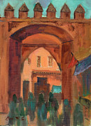Wineries Paintings - Fez Town Scene by Diane McClary