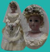French Ceramics - FG Bride Doll with Trunk by Shirley Heyn