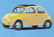 Fiat 500 Framed Prints - Fiat 500 Framed Print by Nicky Leigh
