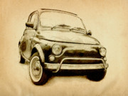 Sports Drawing Prints - Fiat 500L 1969 Print by Michael Tompsett