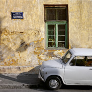 Dilapidated Houses Framed Prints - Fiat 600. Belgrade. Serbia Framed Print by Juan Carlos Ferro Duque