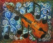 Music Tapestries - Textiles Metal Prints - Fiddle 1 Metal Print by Sue Duda
