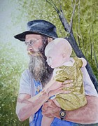 Man Holding Baby Art - Fiddle Festival Family by Claudia Rutherford