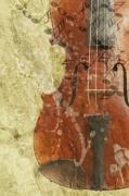 Clef Prints - Fiddle In Grunge Style Print by Michal Boubin