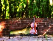 Fiddle Digital Art - Fiddle on the Garden Wall by Bill Cannon