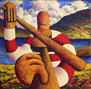 Session Musician Prints - Fiddle player  in landscape impasto Print by Alan Kenny
