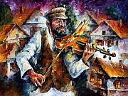 Fiddler Prints - Fiddler from the sky Print by Leonid Afremov