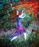 Woman Tapestries - Textiles Prints - Fiddler of the Forest Print by Sue Duda