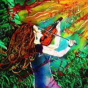 Music Tapestries - Textiles Prints - Fiddling Toward the Sun Print by Sue Duda