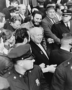 Candid Portraits Prints - Fidel Castro And Nikita Khrushchev Print by Everett