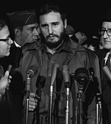 1950s Candids Photos - Fidel Castro Arrives Mats Terminal by Everett