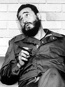 Smoking Book Framed Prints - Fidel Castro, In 1974 Framed Print by Everett