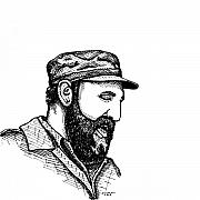 Leader Drawings Prints - Fidel Castro Print by Karl Addison
