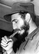 Cigar Prints - Fidel Castro, Lighting A Cigar, 1967 Print by Everett