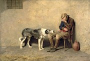 Oil On Canvas. Posters - Fidelity Poster by Briton Riviere