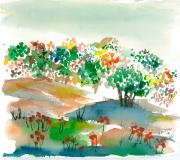 Jan Anderson Watercolors - Field and flowers by Jan Anderson