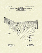 Baseball Art Drawings Prints - Field Lighting 1904 Patent Art Print by Prior Art Design