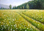 P.r. Paintings - Field margaritas by Zoltan Simon