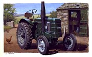 Vintage Art Paintings - Field Marshall tractor by Mike  Jeffries