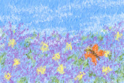 Heidi Painting Posters - Field Of Asters - Impressionism Poster by Heidi Smith