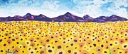 Field Of Sunflowers Paintings - Field Of Dreams by Katina Cote