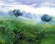Christmas Holiday Scenery Art - Field of flowers by Milind Mulick