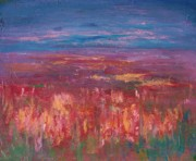 Field Of Flowers Paintings - Field of Heather by Julie Lueders