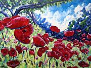Poppies Artwork Paintings - Field Of Poppies 02 by Richard T Pranke