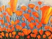 Poppies Field Painting Originals - Field of Poppies by Berta Barocio-Sullivan