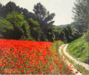 Poppies Field Paintings - Field Of Poppies by Juan Jose Abenza