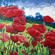 Nature Scene Paintings - Field Of Poppies by Richard T Pranke