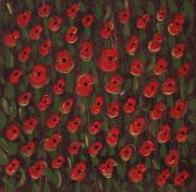 Fathers Paintings - Field of Poppys by Louise Gale