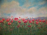 Poppies Field Paintings - Field of red poppies by Bart DeCeglie