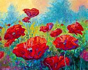Fall Painting Framed Prints - Field Of Red Poppies Framed Print by Marion Rose