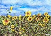 Field Of Sunflowers Paintings - Field Of Sunflowers by Arline Wagner